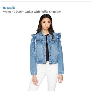 Bagatelle Denim Ruffle Jacket NWT